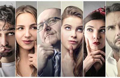 قسمتی از تصاویر اشخاص مختلف، سه زن و سه مرد در حال فکر کردن