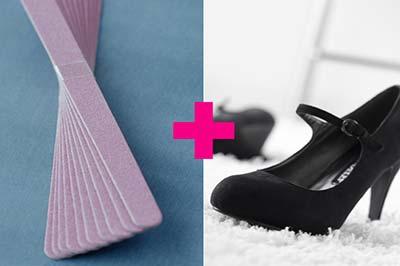 یک لنگه کفش پاشنه بلند جیر مشکی با یک دسته سوهان نرم یاسی رنگ