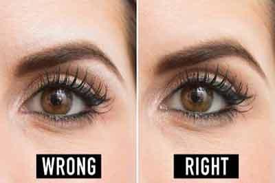دوتصویر از یک چشم و ابروی قهوهای رنگ که در تصویر سمت چپ از هایلایتر نامناسب استفاده شده است