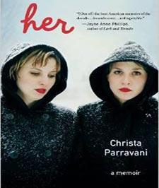 کتابی با جلد خاکستری با تصویر دو دختر دو قلو با سوییت شرت های سیاه رنگ