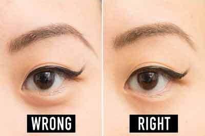 دو تصویر از دو چشم بادامی قهوهای با خط چشم بلند و ابروهای کمپشت
