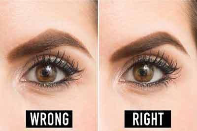 دو تصویر از دو چشم قهوهای و ابروهای قهوهای که در تصویر سمت راست ابرو بیش از حد کمانی شده است