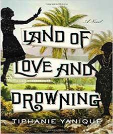 جلد یک کتاب که در زیر نوشته های آن تصویر دو زن بومی و دو درخت نخل و دشتی زیبا مشخص است