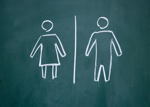 یک تخته سبز که بر روی آن تصور یک زن در سمت چپ و یک مرد در سمت راست نقاشی شده است