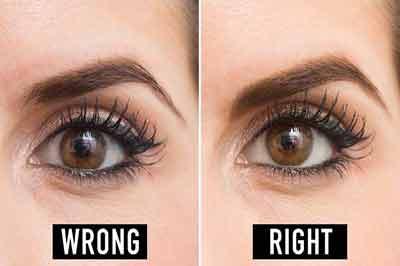 دو تصویر از یک چشم با رنگ قهوهای روشن و خط چشم سیاه وابرو با رنگ قهوهای