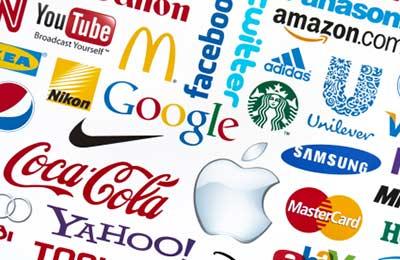 تصویری از لوگو شرکتهای معتبر مانند گوگل ، کوکاکولا، اپل در کنار هم